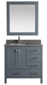"London 36"" Vanity in Gray with Quartz Vanity Top in Gray with White Basin and Mirror"