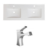 American Imaginations Ceramic Top Set in White Color w/ Single Hole CUPC Faucet