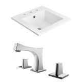 "American Imaginations 21""W x 18""D Ceramic Top Set in White Color w/ 8"" o.c. CUPC Faucet"