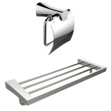 American Imaginations Multi-Rod Towel Rack w/ A Chrome Plated Toilet Paper Holder Accessory Set