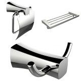 American Imaginations Robe Hook, Toilet Paper Holder & Multi-Rod Towel Rack Accessory Set