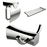American Imaginations Robe Hook, Multi-Rod Towel Rack & Toilet Paper Holder Accessory Set
