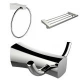 American Imaginations Chrome Plated Towel Ring, Double Robe Hook & A Multi-Rod Towel Rack Accessory Set