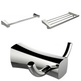 American Imaginations Multi-Rod Towel Rack w/ Robe Hook & Single Towel Rod Accessory Set