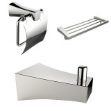 American Imaginations Chrome Plated Multi-Rod Towel Rack w/ Robe Hook & Toilet Paper Holder Accessory Set