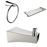 American Imaginations Multi-Rod Towel Rack w/ Robe Hook & Towel Ring Accessory Set