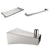 American Imaginations Chrome Plated Robe Hook, Multi-Rod Towel Rack, & A Single Towel Rod Accessory Set