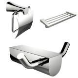 American Imaginations Modern Multi-Rod Towel Rack w/ Robe Hook & Toilet Paper Holder Accessory Set