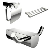 American Imaginations Modern Multi-Rod Towel Rack, Toilet Paper Holder & Robe Hook Accessory Set