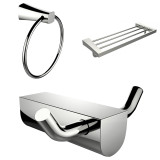 American Imaginations Chrome Plated Multi-Rod Towel Rack w/ Towel Ring & Robe Hook Accessory Set