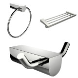 American Imaginations Chrome Plated Towel Ring w/ Multi-Rod Towel Rack & Robe Hook Accessory Set