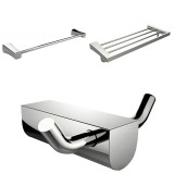 American Imaginations Chrome Plated Robe Hook w/ Single Towel Rod & Multi-Rod Towel Rack Accessory Set