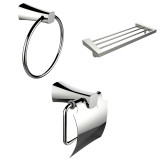 American Imaginations Chrome Towel Ring, Multi-Rod Towel Rack & Toilet Paper Holder Accessory Set