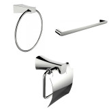 American Imaginations Modern Towel Ring, Single Rod Towel Rack & Toilet Paper Holder Accessory Set