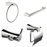 American Imaginations Single Rod Towel Rack, Robe Hook, Towel Ring & Toilet Paper Holder Accessory Set