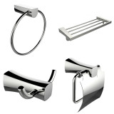 American Imaginations Multi-Rod Towel Rack w/ Towel Ring, Robe Hook & Toilet Paper Holder Accessory Set