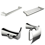American Imaginations Single & Multi-Rod Towel Rack w/ Robe Hook & Toilet Paper Holder Accessory Set