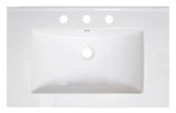 """American Imaginations 30"""" W x 18.5"""" D Ceramic Top in White Color for 8"""" o.c. Faucet"""