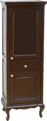 "American Imaginations 21.5"" W x 62.75"" H Traditional Birch Wood-Veneer Linen Tower in Walnut"