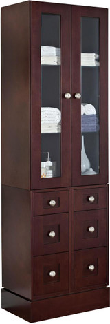 "American Imaginations 26"" W x 82"" H Transitional Birch Wood-Veneer Linen Tower in Coffee"