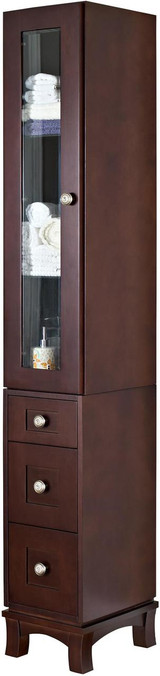 "American Imaginations 13"" W x 82"" H Transitional Birch Wood-Veneer Linen Tower in Coffee"