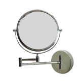 """American Imaginations 19.56"""" W Round Brass-Mirror Wall Mount Magnifying Mirror in Chrome Color"""