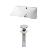 American Imaginations Rectangle Undermount Sink Set in White & Drain