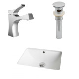 American Imaginations CUPC Rectangle Undermount Sink Set in White w/ Single Hole CUPC Faucet & Drain
