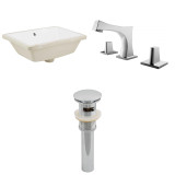 """American Imaginations 18.25""""W x 13.5""""D CUPC Rectangle Undermount Sink Set in White"""