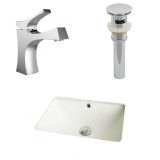 American Imaginations CUPC Rectangle Undermount Sink Set in Biscuit w/ Single Hole CUPC Faucet & Drain