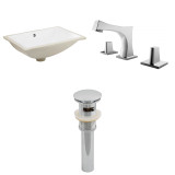 """American Imaginations 18.25""""W x 13.75""""D CUPC Rectangle Undermount Sink Set in White"""