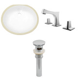 """American Imaginations 19.5""""W x 16.25""""D CUPC Oval Undermount Sink Set in White"""