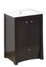 "American Imaginations Elite 32"" Birch Wood-Veneer Single Sink Vanity Set in Distressed Antique Walnut"