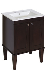 "American Imaginations Birch Wood-Veneer Vanity Set in Antique Walnut w/ 8"" o.c. CUPC Faucet"