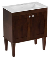 American Imaginations Birch Wood-Veneer Vanity Set in Antique Walnut w/ Single Hole CUPC Faucet