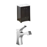 American Imaginations Birch Wood-Veneer Vanity Set in Distressed Antique Walnut w/ Single Hole CUPC Faucet