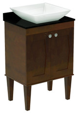 American Imaginations Birch Wood-Veneer Vanity Set in Antique Walnut w/ Deck Mount CUPC Faucet