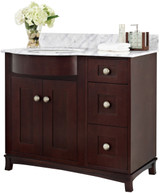 American Imaginations Birch Wood-Veneer Vanity Set in Coffee
