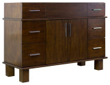 "American Imaginations 46.5"" W x 17.75"" D Transitional Birch Wood-Veneer Vanity Base Only in Antique Cherry"