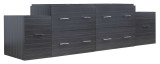 "American Imaginations 74.5"" W x 18"" D Modern Wall Mount Plywood-Melamine Vanity Base Only in Dawn Grey"