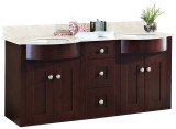 "American Imaginations 61"" W x 21"" D Transitional Wall Mount Birch Wood-Veneer Vanity Base Only in Coffee"