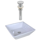 American Imaginations Square Vessel Set in White Color & Drain