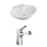 American Imaginations Oval Vessel Set in White Color w/ Single Hole CUPC Faucet