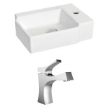 American Imaginations AI-888-17813 Square Vessel Set In White Color With Deck Mount CUPC Faucet