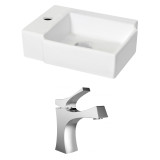 American Imaginations Rectangle Vessel Set in White Color w/ Single Hole CUPC Faucet
