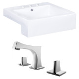 "American Imaginations Rectangle Vessel Set in White Color w/ 8"" o.c. CUPC Faucet"