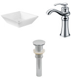 American Imaginations Square Vessel Set in White Color w/ Deck Mount CUPC Faucet & Drain