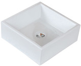 """American Imaginations 14.75""""W x 14.75""""D Above Counter Square Vessel Set In White Color w/ Deck Mount CUPC Faucet"""
