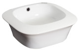 """American Imaginations 16.75""""W x 16.75""""D Above Counter Square Vessel Set In White Color w/ Deck Mount CUPC Faucet"""