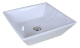 """American Imaginations 15.75""""W x 15.75""""D Above Counter Square Vessel Set In White Color w/ Deck Mount CUPC Faucet"""